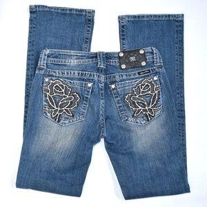 MISS ME Boot Cut Jeans Rose Pocket 28 X 34